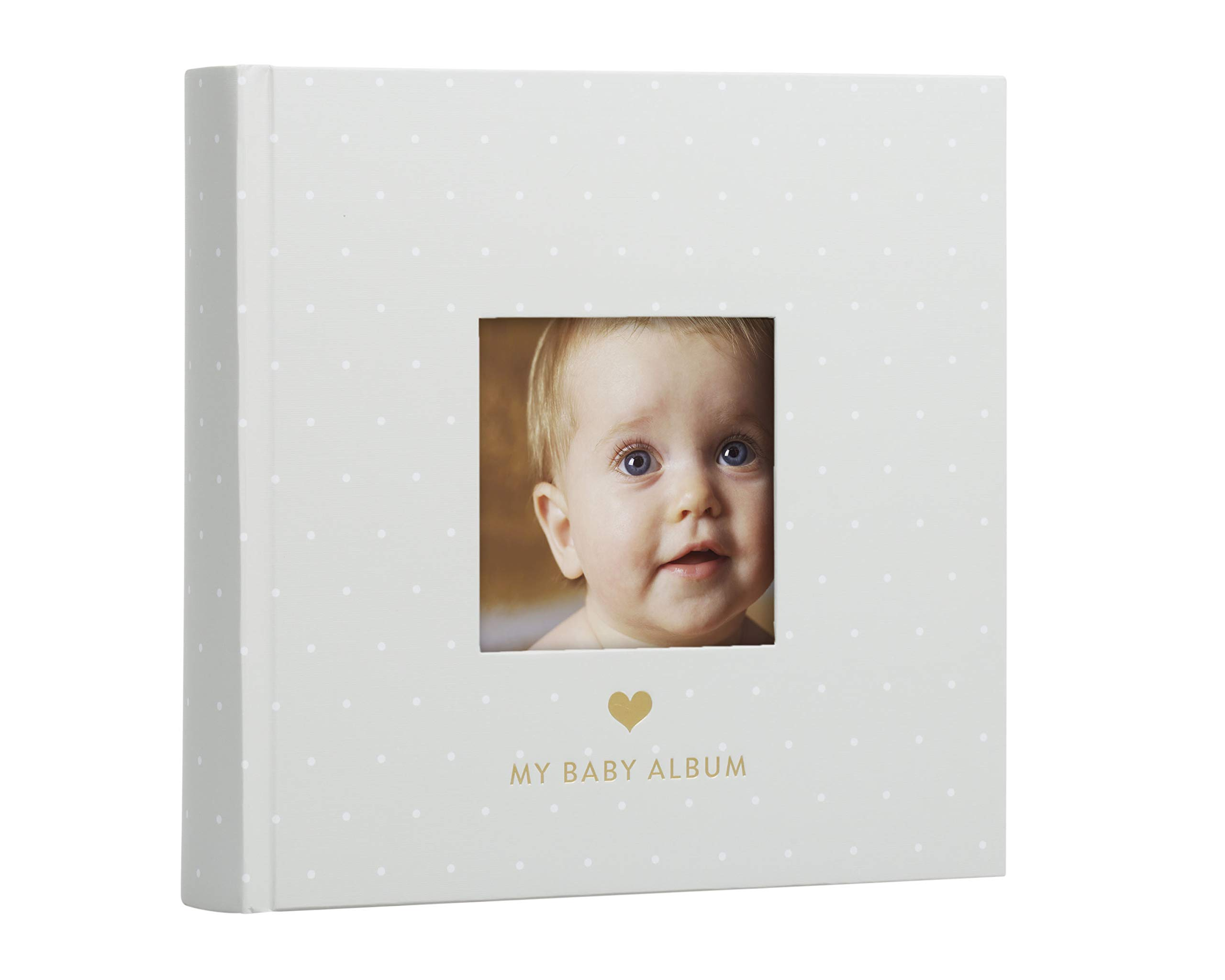 Pearhead Baby Photo Album, Baby Shower Gift, Gray with White Polka Dots