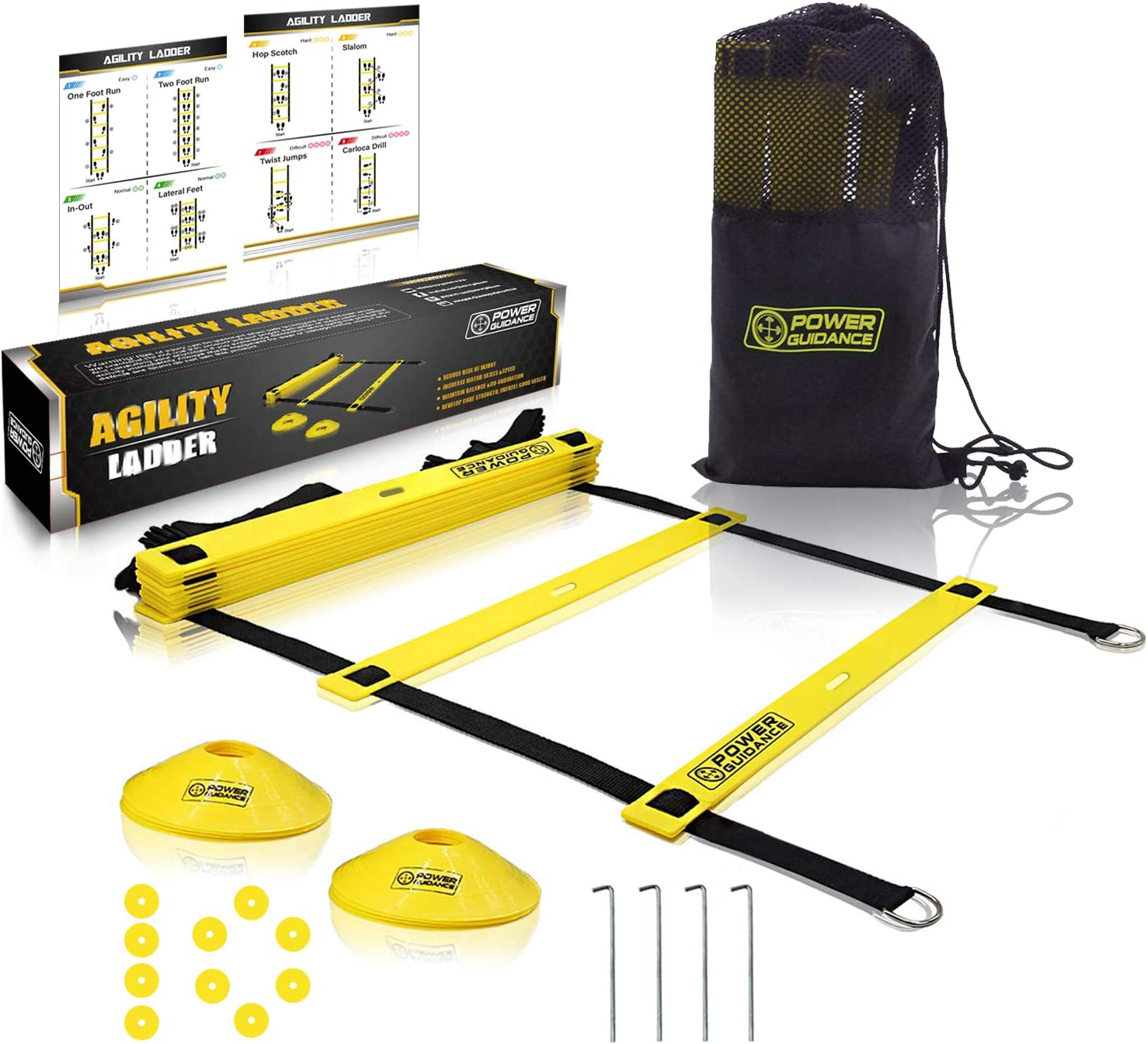 POWER GUIDANCE Agility Ladder (20 Feet) for Speed & Agility Trainning - with 12 Heavy Duty Plastic Rungs, 4 Pegs, Carry Bag & 10 Sports Cones (Yellow) : Sports & Outdoors