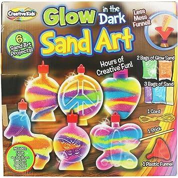 NEW GLOW IN THE DARK SAND /& BOTTLE ART SET KIDS ART DIY CREATIVE CRAFT TOYS