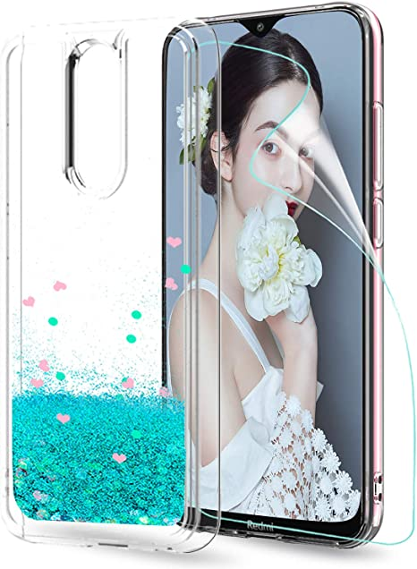 LeYi Funda Xiaomi Redmi 8 Silicona Purpurina Carcasa con HD Protector de Pantalla, Transparente Cristal Bumper Telefono Gel TPU Fundas Case Cover para Movil Redmi 8 ZX Verde: Amazon.es: Electrónica