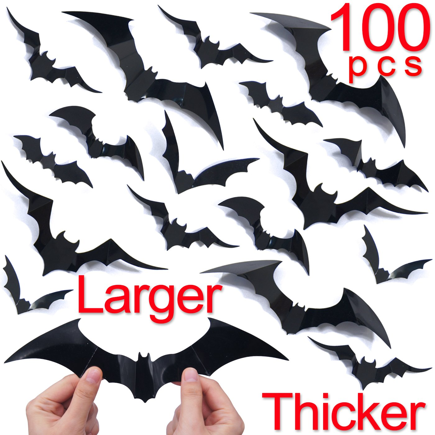 Ivenf Halloween Decorations Bat Wall Decals Stickers Decor 100 Pack, Extra Large 3D Bats Window Decals, Bat Halloween Door Decor