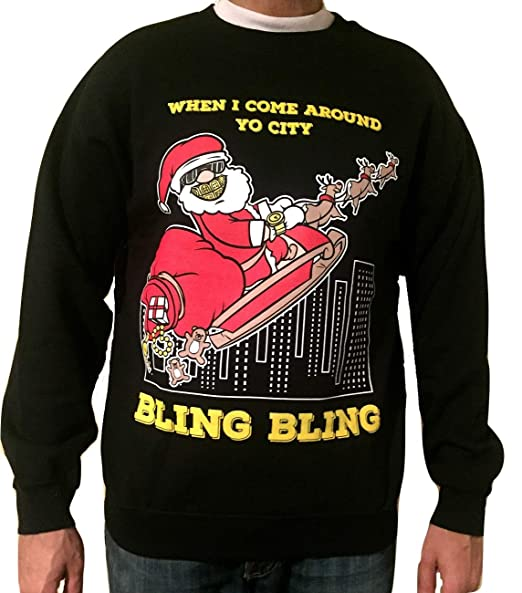 Horrible Christmas Sweaters.Ugly Christmas Sweater Bling Bling Santa Black Funny Christmas Sweatshirt