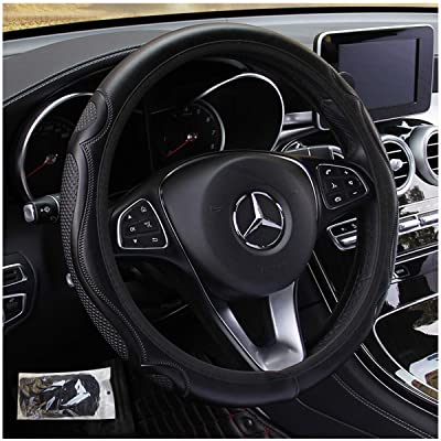 KAFEEK Steering Wheel Cover,Warm in Winter and Cool in Summer, Universal 15 inch, Microfiber Breathable, Anti-Slip, Odorless, Easy Carry, Black: Automotive