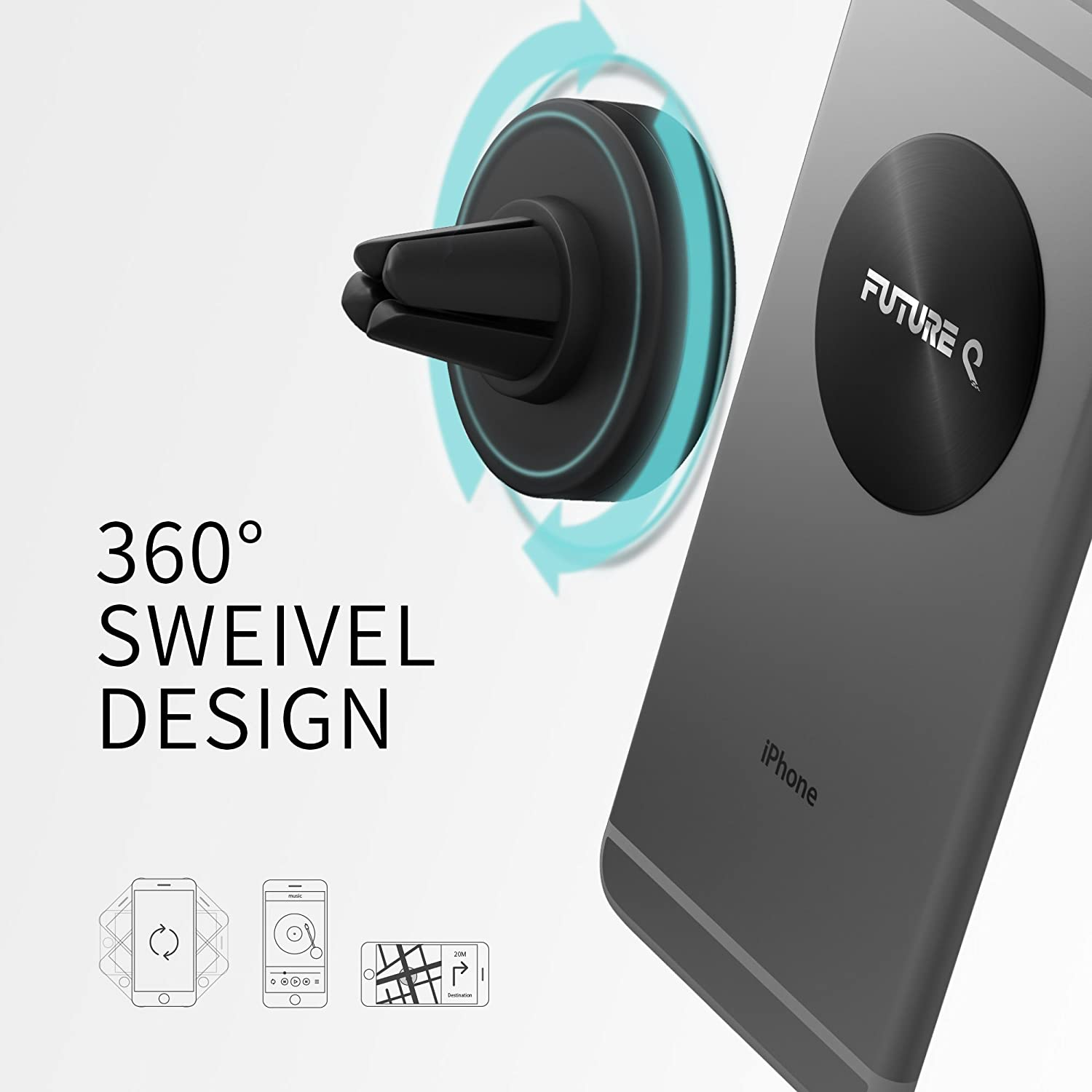 Black FBA/_FQ201703 FutureQ Universal Magnetic Air Vent Mount Car Phone Holder for Smart Phone iPhone 7 Plus 6S 6 SE 5S 5C 5 Car Mount Holder Note 5 4 2 S5 Samsung Galaxy S8 S7 S6 Edge