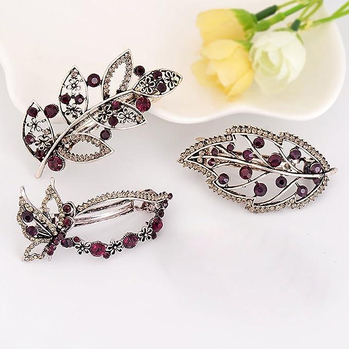 Broche para el pelo con diseño de mariposas de hojas de moda para mujer   Amazon.es  Belleza dae371952664