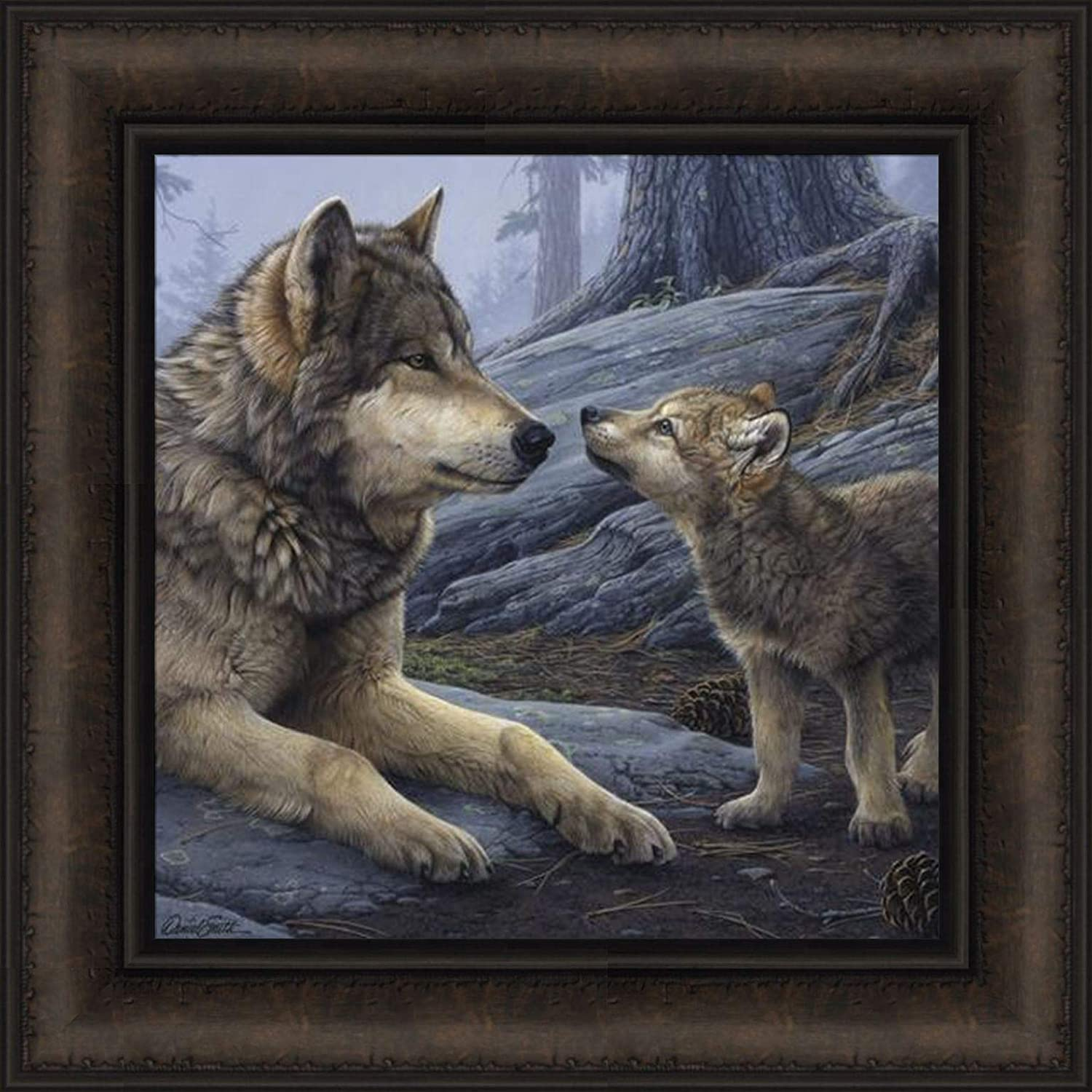 Brother Wolf by Daniel Smith 16x16 Timberwolf Timber Wolves Pup Framed Wildlife Art Print Wall Décor Picture