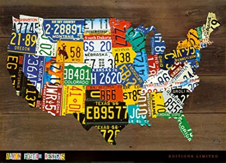 Amazoncom X Aaron Foster License Plate USA Map II Art - License plate usa map