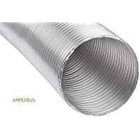 AMPEREUS Flexible Aluminium Exhaust Duct Chimney Pipe, 10 ft, 6 Inch (Grey)