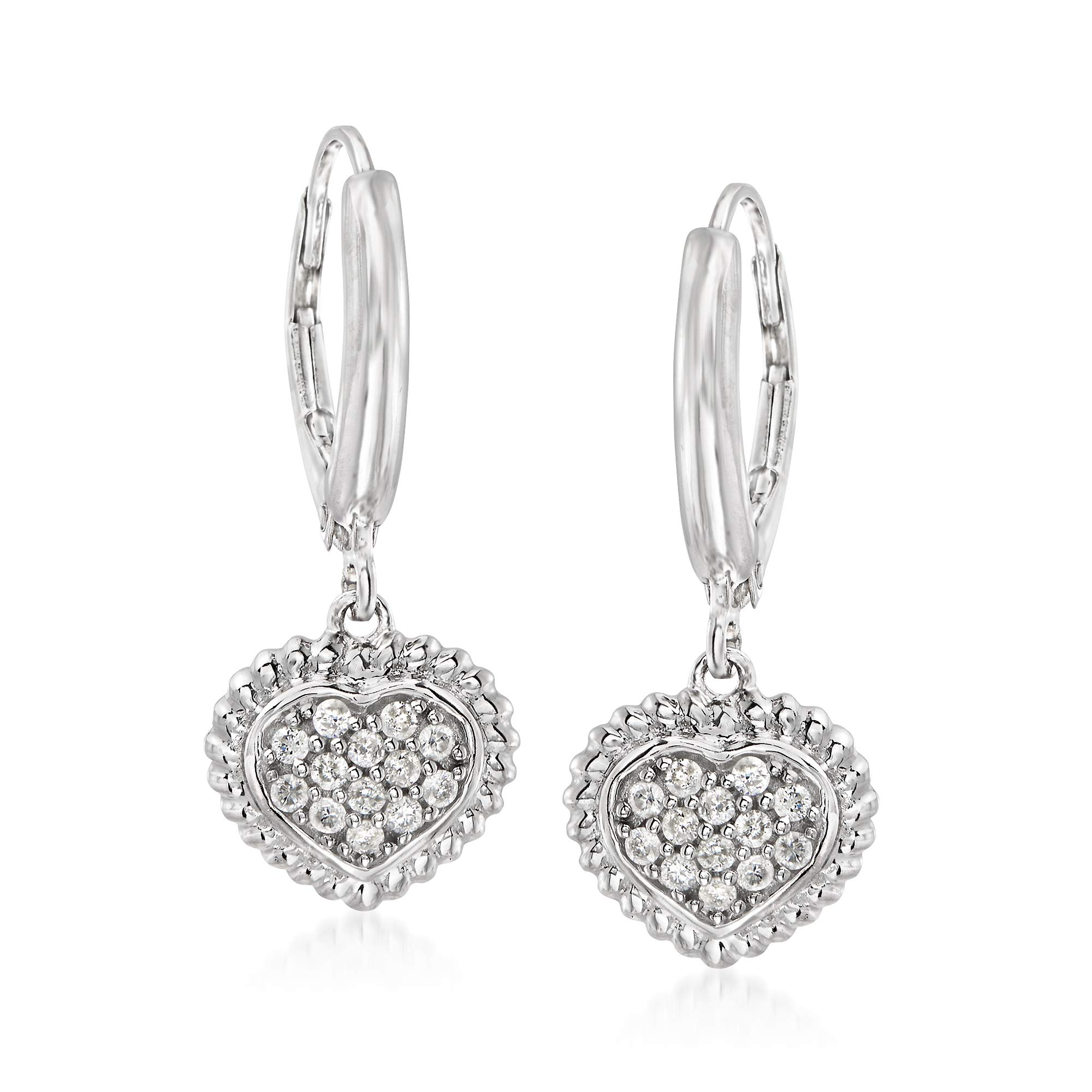 Ross-Simons 0.26 ct. t.w. Pave Diamond Heart Drop Earrings in Sterling Silver
