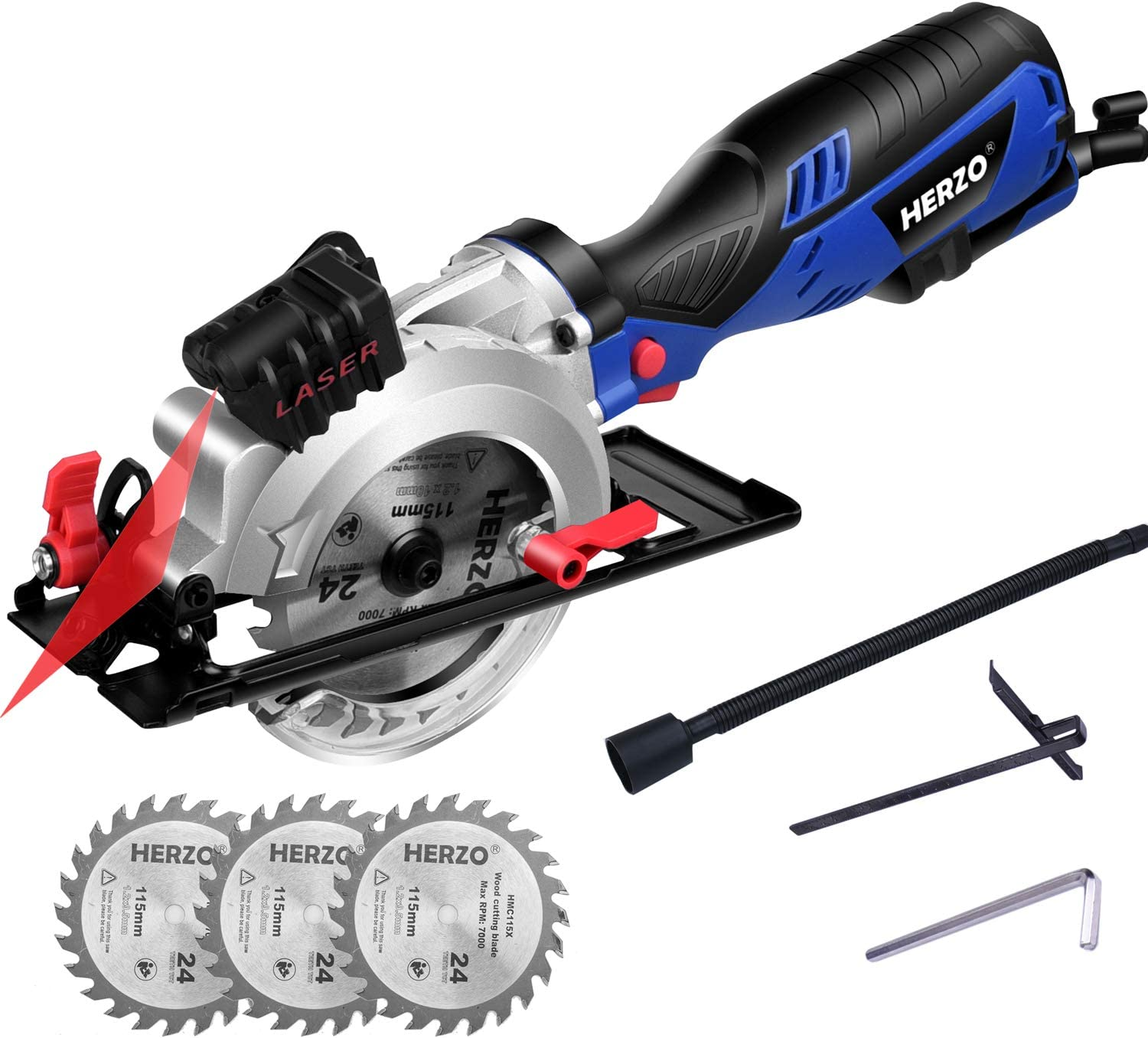 HERZO Compact Circular Saw 4-1 2 with Laser Guide, Max Cutting Depth 1-9 10 90 , 1-3 10 0 -45 with 3 Wood Cutting Blades – 5.8A 3500 rpm