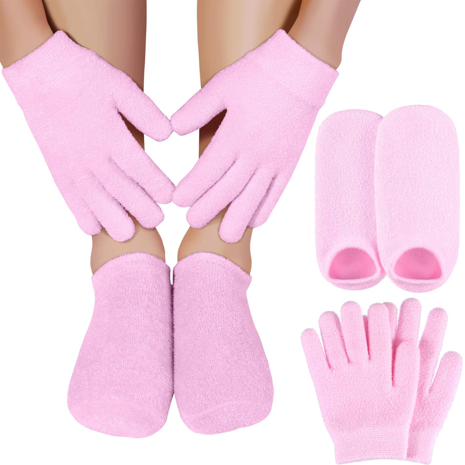 Bememo Moisturizing Spa Gel Gloves and Socks Set Dark Pink for Women and Kids to Repair Dry Rough and Cracked Hands