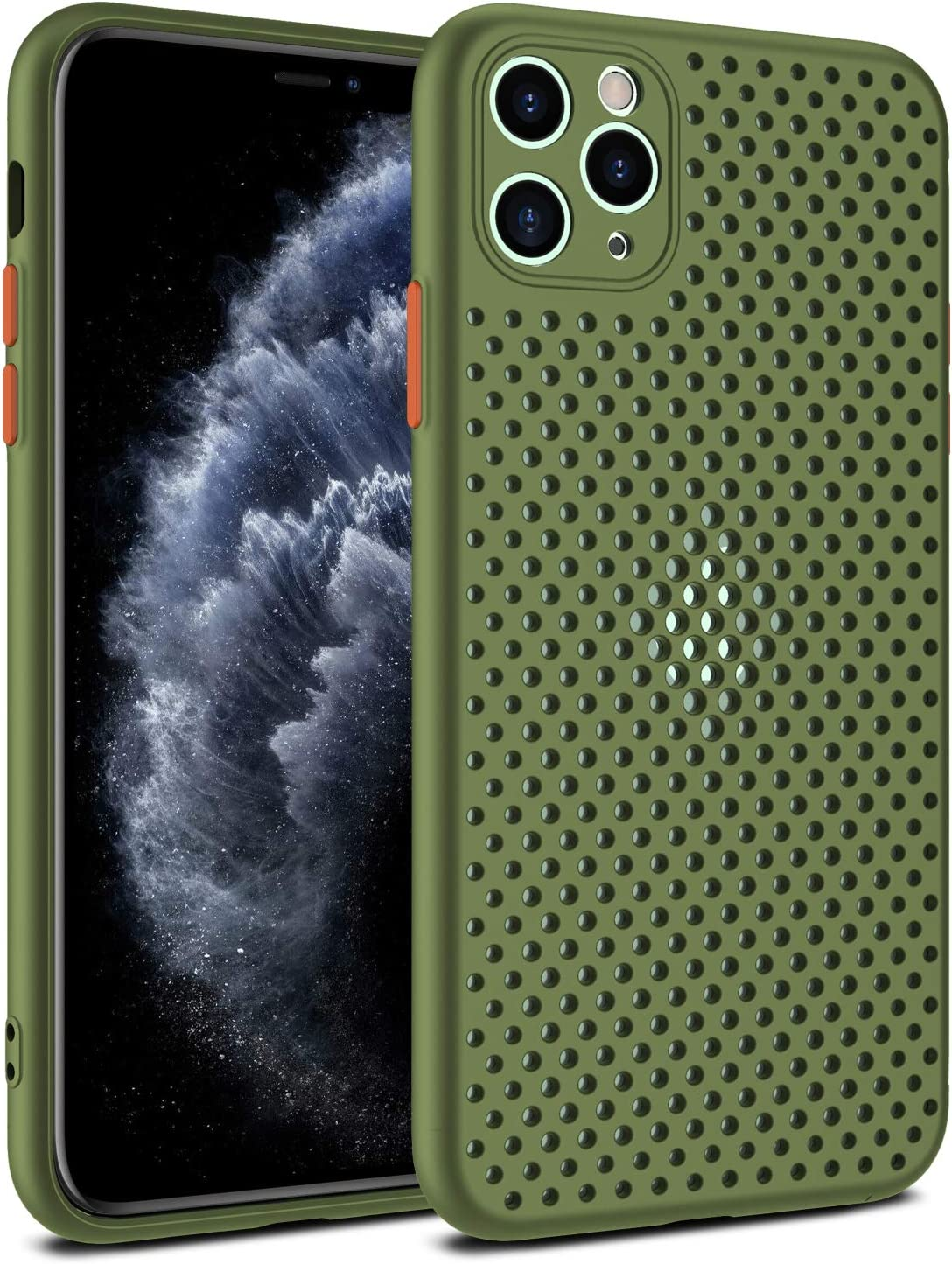 DALINBA Heat Dissipating iPhone XR Heat Dissipation Case, Breathable Mesh iPhone XR Case - Ultra Thin Slim Fit Shockproof Silicone TPU Back Cover with Hollow Cellular Hole,Green