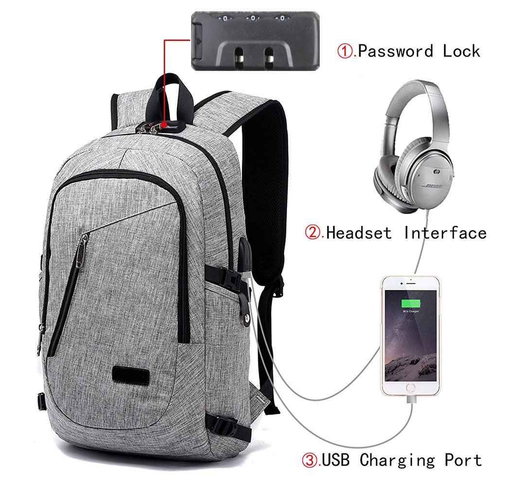Anti Theft Business Laptop Backpack with USB Charging Headphones Port for 15.6-Inch Laptop Grey