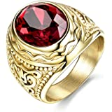 MASOP Lunxury Engraved Stainless Steel Mens Ring Red Synthetic Ruby Crystal Gold Color Wedding Band Rings