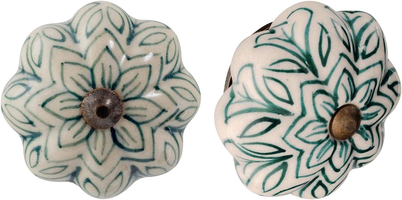 Dise/ño con Flor Vintage Pack de 6 Cer/ámica Verde Oscuro Nicola Spring Tirador para cajones y armarios