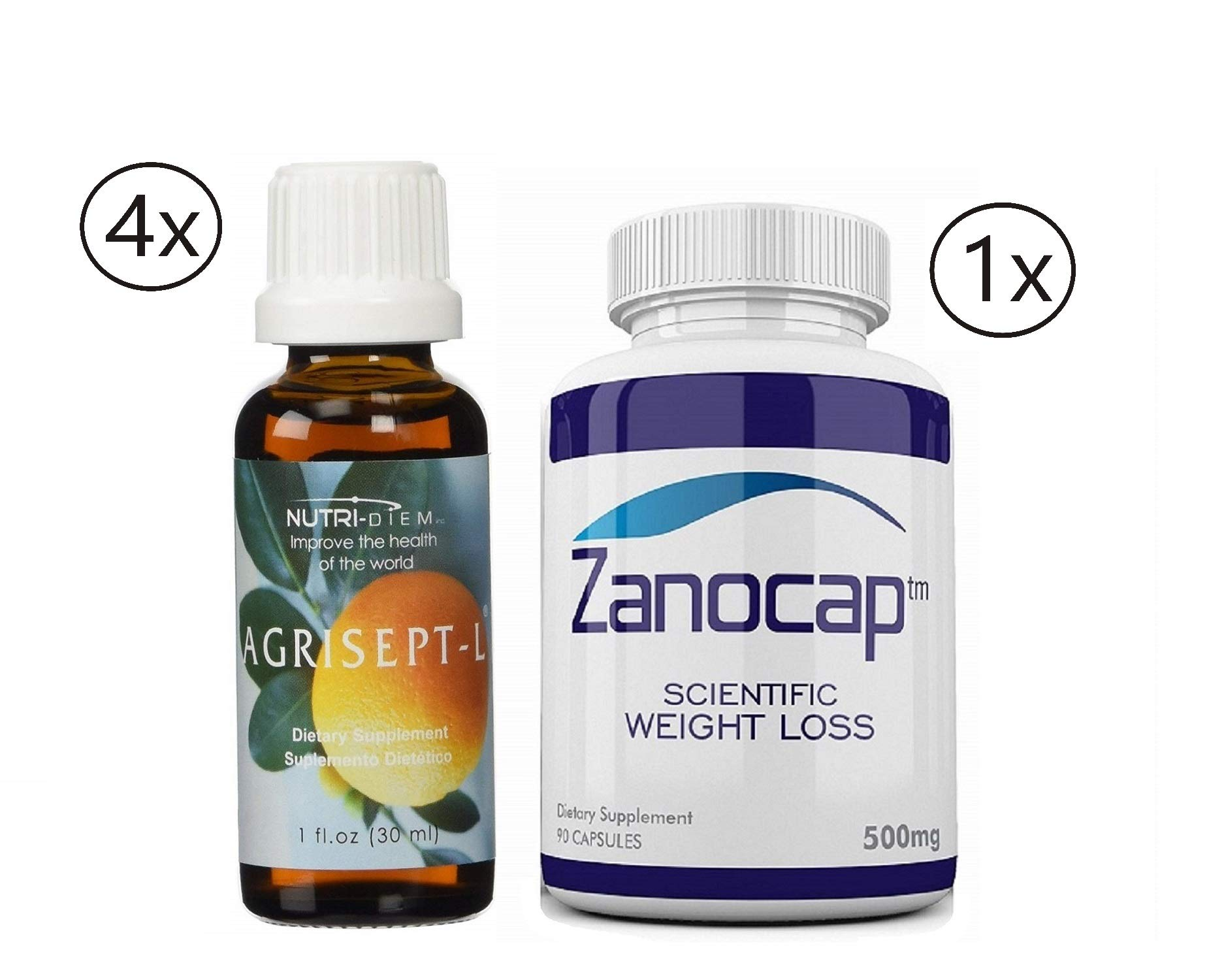 Agrisept L Antioxidant Wellness Weight Loss 4 Bottles with Zanocap Scientific Weight Loss 1 Bottle by M3Dl Kits