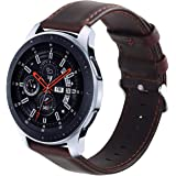KADES Genuine Leather Retro Cowhide Band with quick release pin for Samsung Gear S3 Classic and Gear S3 Frontier (Large,Coffee)
