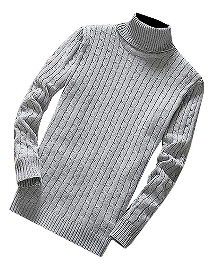 Beautface Makeup Fashion Mens Knit Slim Fit Turtleneck Soft Warm Pullovers Sweaters Light GrayUS Large