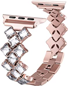 Secbolt Jewelry Bands Compatible with Apple Watch Band 38mm 40mm iwatch Series 5 4 3 2 1, Bling Stainless Steel Replacement Wristband, 4 Colors Available