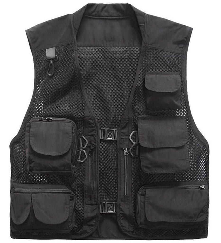 Herebuy8 メッシュフィッシングベスト 男性用 マルチポケット 撮影用アウトドアジャケット B01M7NELX8 XL-US|ブラック ブラック XL-US