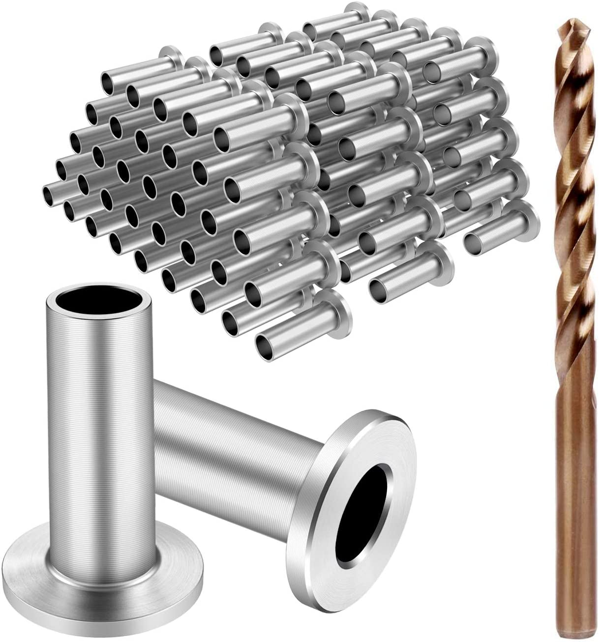 DIY Balustrade CKE 40 Pack T316 Marine Grade Stainless Steel 30 Degree Angle Beveled Protector Sleeves Wood Post Protector for 1//8 Wire Rope Cable Railing Patent Design Come with a Free Drill Bit