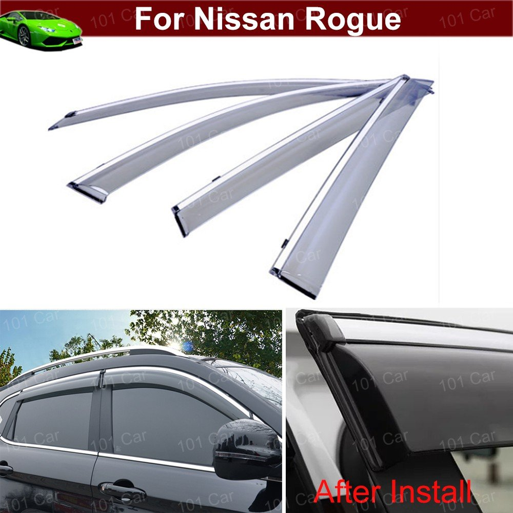 4pcs Smoke color Window/Visor Vent Shade Rain/Sun/Wind Guard Shied with Chrome Trim Emblems Custom Fit For Nissan Rogue 2014 2015 2016 2017 2018 Chaoben