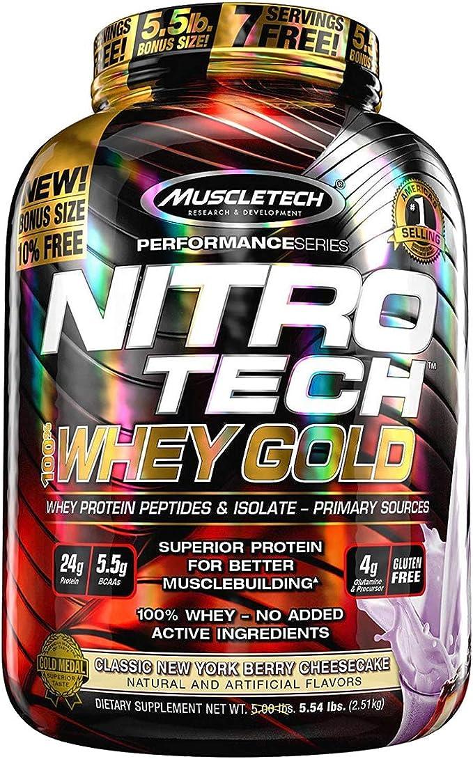 Muscletech Nitro Tech 100% Whey Gold Suplemento de Proteínas New York Cheesecake - 2500 gr