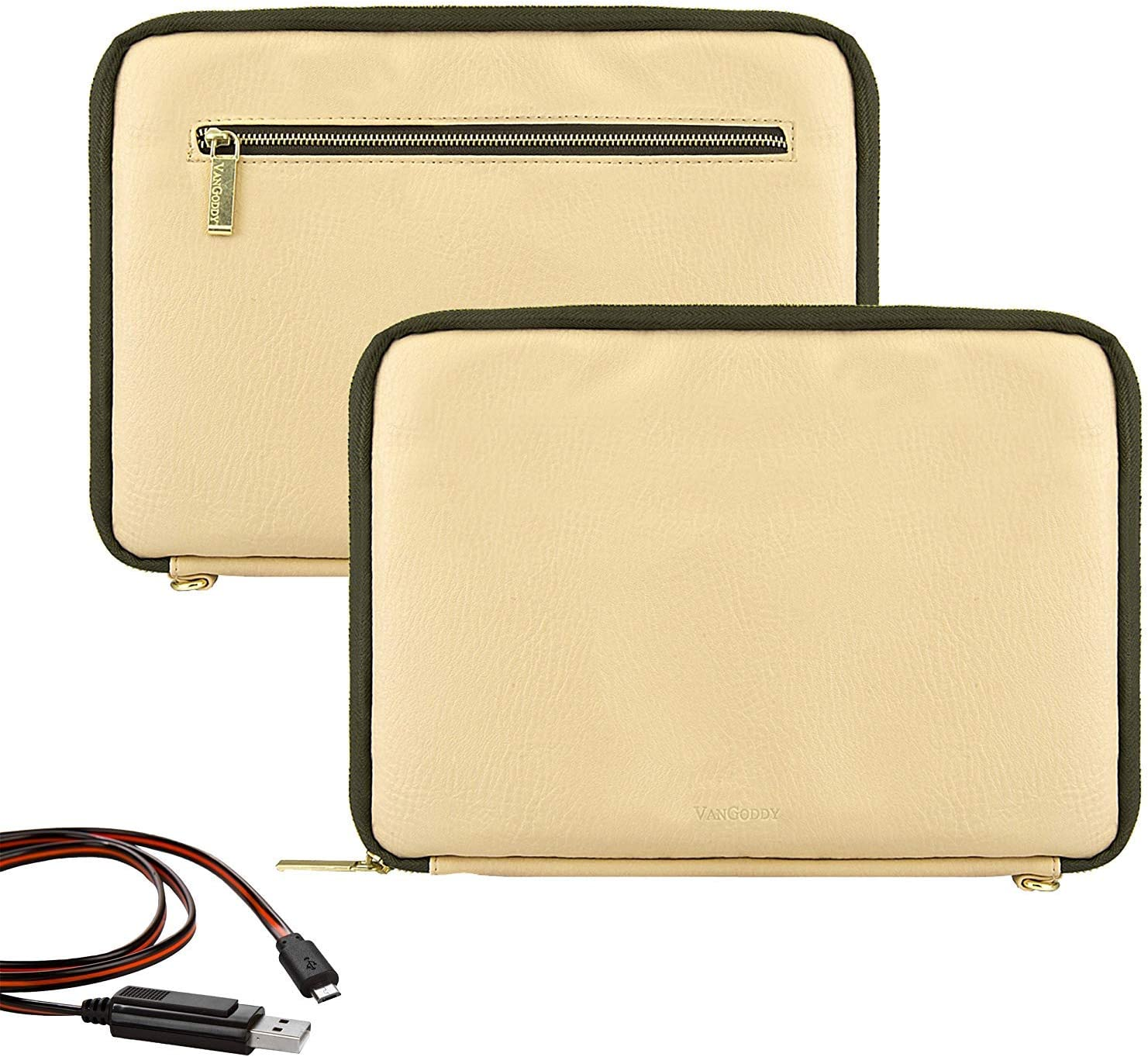 Vangoddy Irista 10 inch Compact PU Leather Sleeve for Acer Iconia One 7,Iconia One 8 B1 870 Tan Olive USB Cable