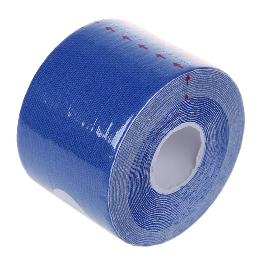 TOOGOO 1 rollo de Deportes Kinesiologia Musculos Cuidado Gimnasio Atletico 5M Cinta Salud * 5CM Azul marino R