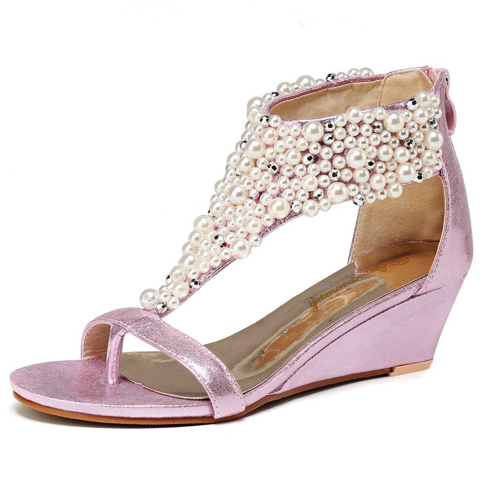 Women's Pearl Encrusted Open Toe Pink Strap Back Zip Wedge Sandals - DeluxeAdultCostumes.com