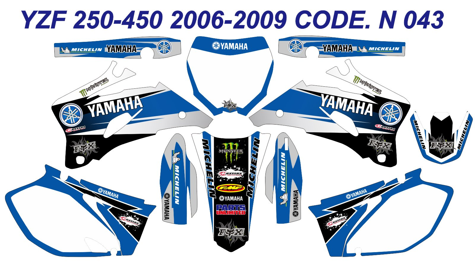 N 043 YAMAHA YZ250F YZ450F 2006-2009 06-09 DECALS STICKERS GRAPHICS KIT