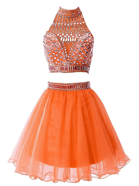 SDRESS Women's Short A-line 2 Pieces Rhinestones High Neck Homecoming Dress