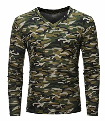ea52216a990486 Vivi Men's Camo V-Neck Casual Long-Sleeve Slim Fit Tees Shirt Army Green