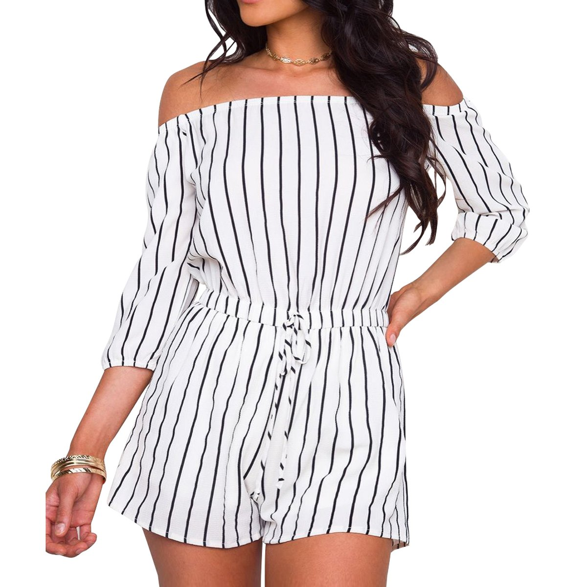 Evoky Women's Summer Striped Off Shoulder 3/4 Sleeves Romper Jumpsuit