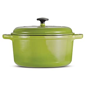 Tramontina 80131/624DS Style Cast Iron Covered Round Dutch Oven, 6.5 Quart, Green