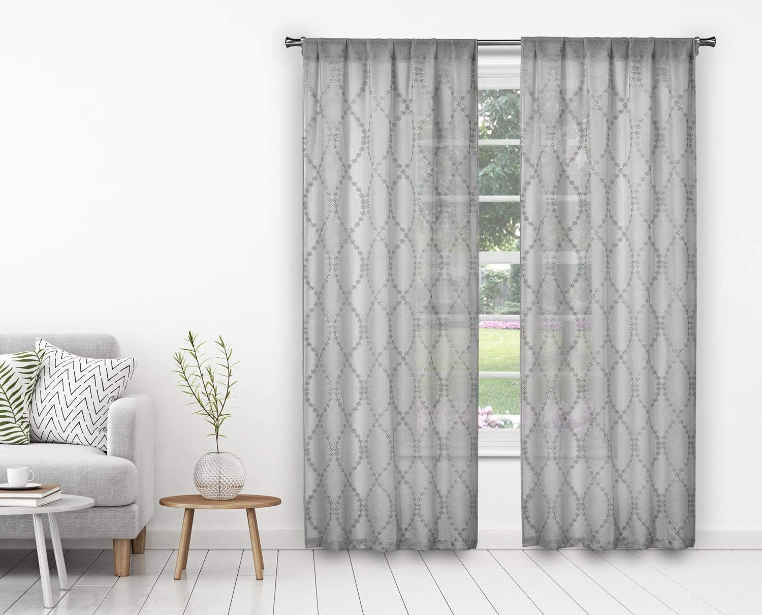 Home Maison Lalit Floral Wave Embroided Window Curtain, 38x84, Grey