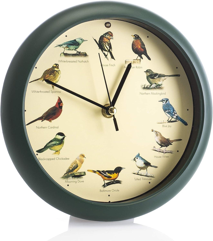 Mark Feldstein & Associates Original Singing Bird Wall/Desk Clock, 8 Inch