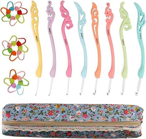 migliore regalo. Ccmart uncinetti ergonomici set 8PCS Colorful kit ferri da maglia con cerniera