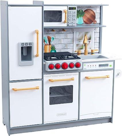 Amazon Com Kidkraft Uptown Elite White Play Kitchen Con Ez Kraft Asamblea 53437 Toys Games