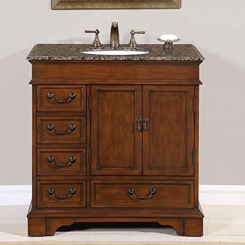 Silkroad Exclusive HYP-0212-BB-UWC-36 Granite Stone Top Single White Sink Bathroom Vanity