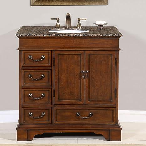 36-inch Granite Stone Countertop Bathroom Single Sink Vanity Cabinet 0212BB