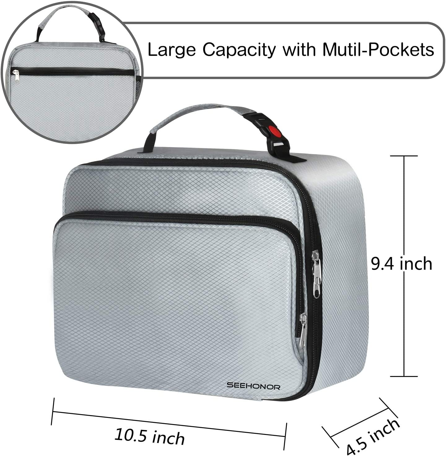 SEEHONOR Insulated Lunch Box Thermal Durable Reusable Lunch Bag Lunch Tote Bag Bento Bag Soft Bag for Adults Women Men kids Office Work School Picnic Hiking Beach,Silver
