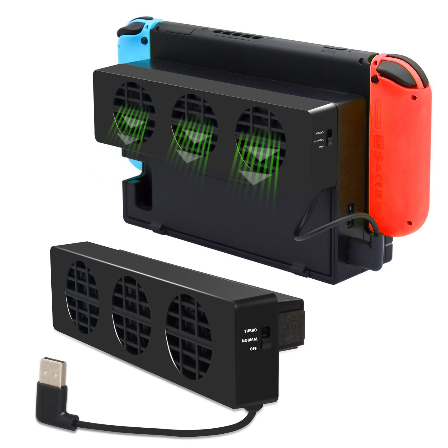 DOBE Switch Cooler Compatible with Nintendo Switch Docking station, Cooling Fan with USB Port