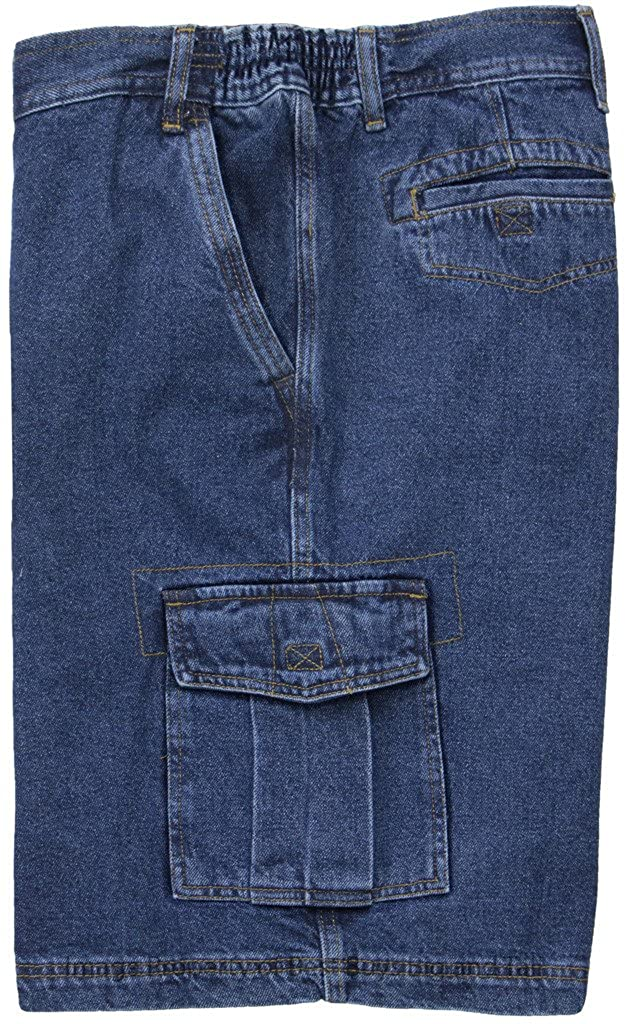 Big Men s Washed Denim Cargo Shorts with Expandable Waist - Medium to Heavy  Weight 16dc604a8