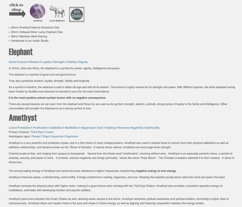 Amazon com: Keychain | Lucky Elephant | Amethyst | Reiki