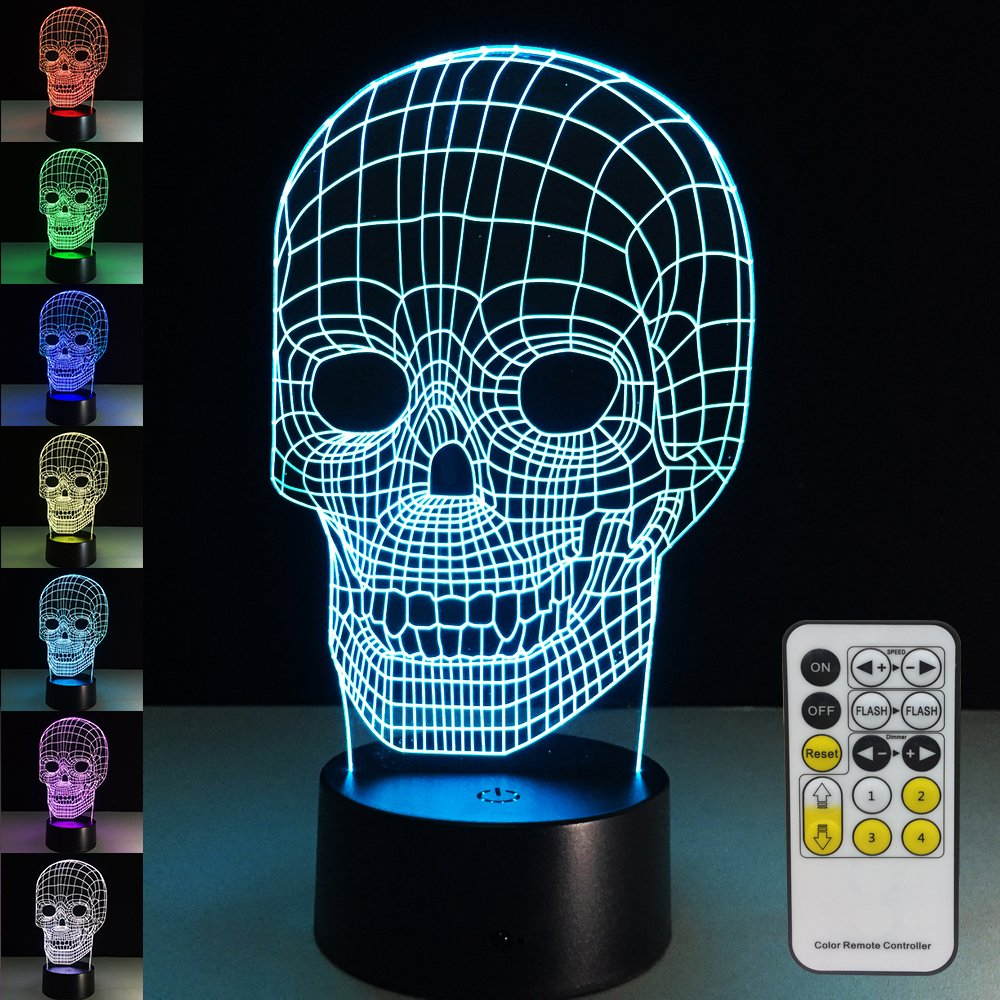 Amazon.com: Skull Lamp with Remote Controller LED Touch 7 Colors ...