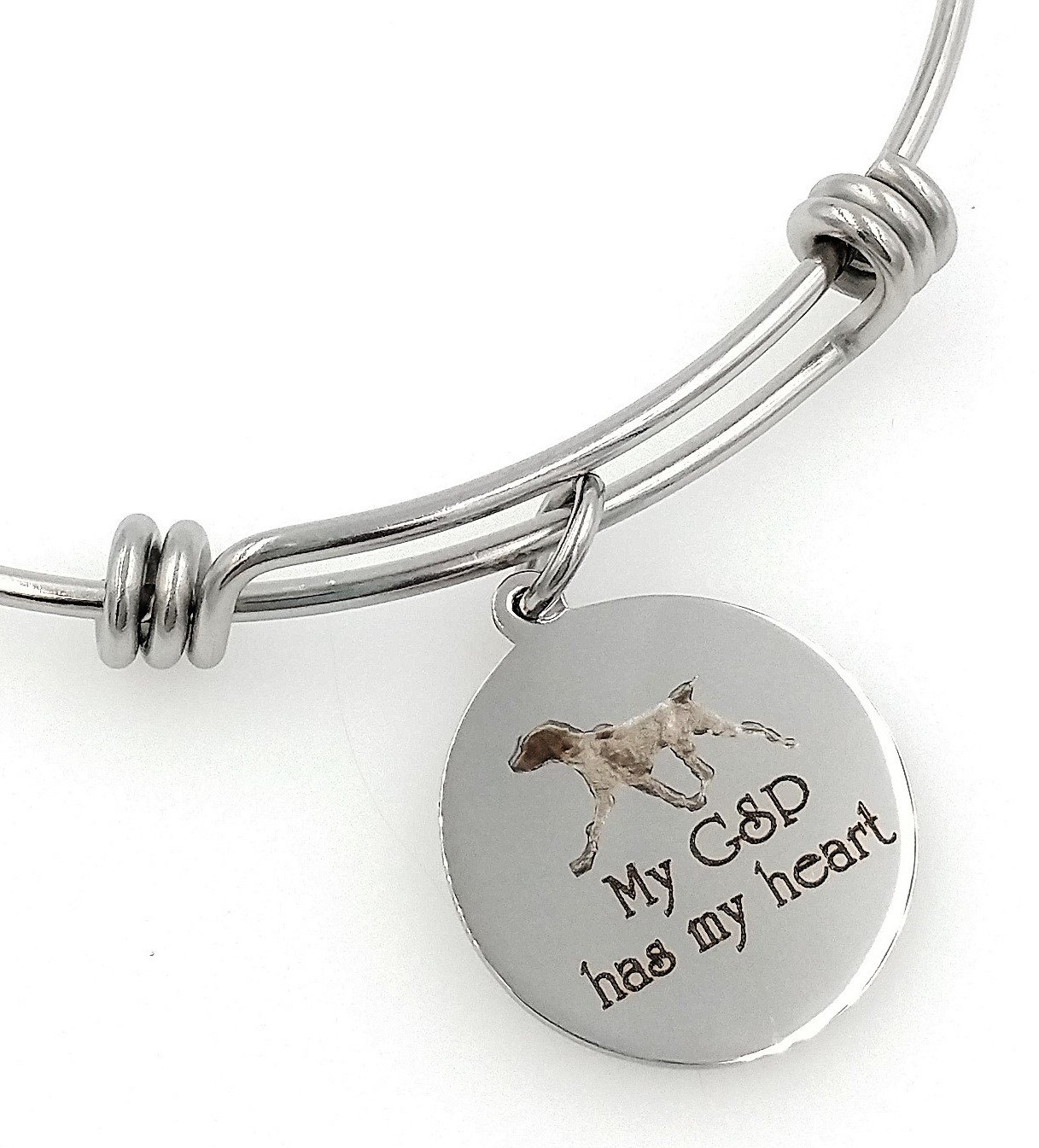 My GSP, German Shorthaired Pointer Has My Heart Engraved Expandable Bangle Bracelet