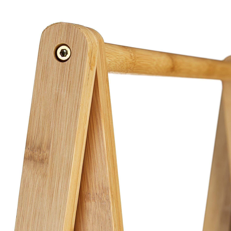 2 mensole Legno Marrone Chiaro HxLxP 150x60x40 cm attaccapanni Stender Porta Abiti Relaxdays Appendiabiti da Terra bamb/ù