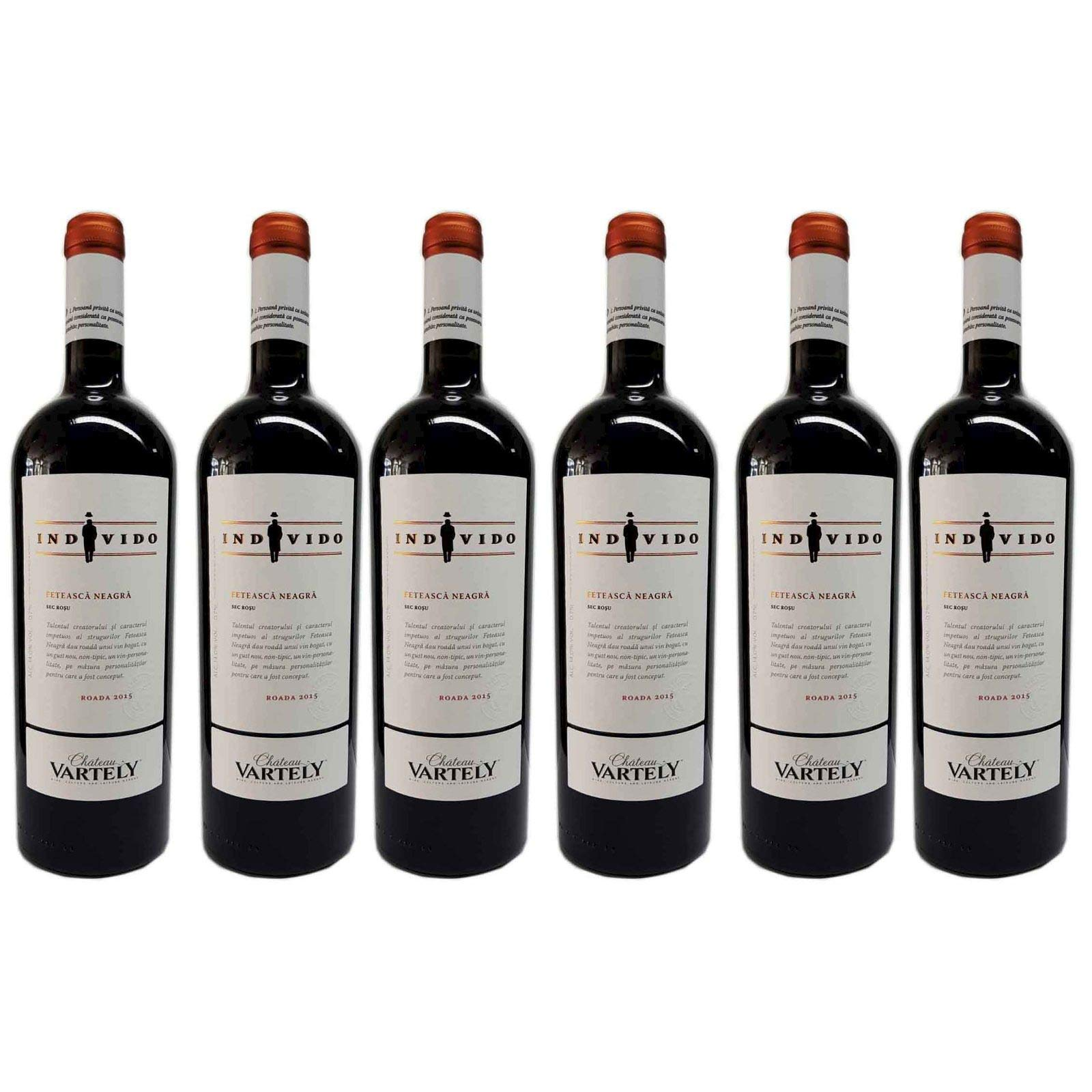 6x INDIVIDO red wine Feteasca Neagra from Chateau Vartely 0.75l 14% alcohol vintage 2015 from Moldova