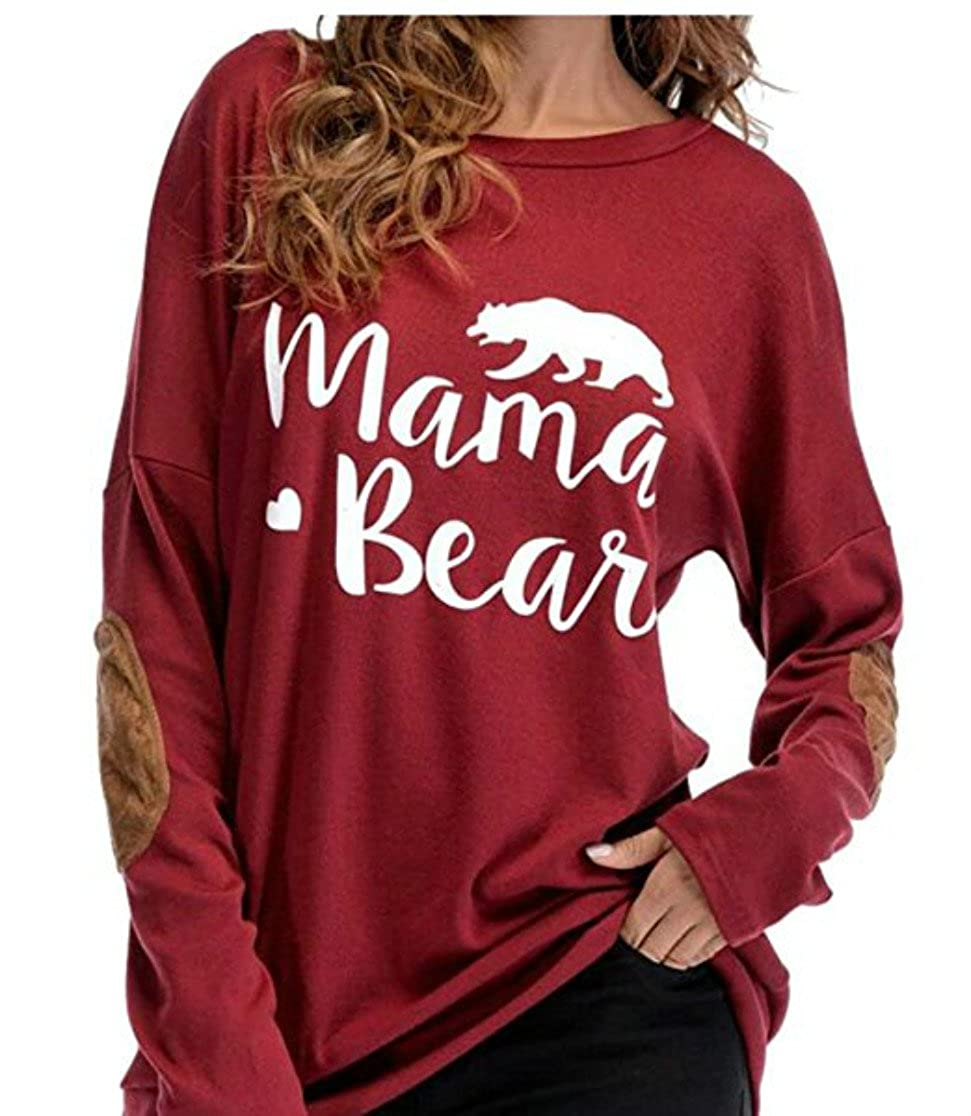 FANTIGO Womens Long Sleeve Mama Bear Letters Print Elbow Patch T-Shirt Tops Blouses